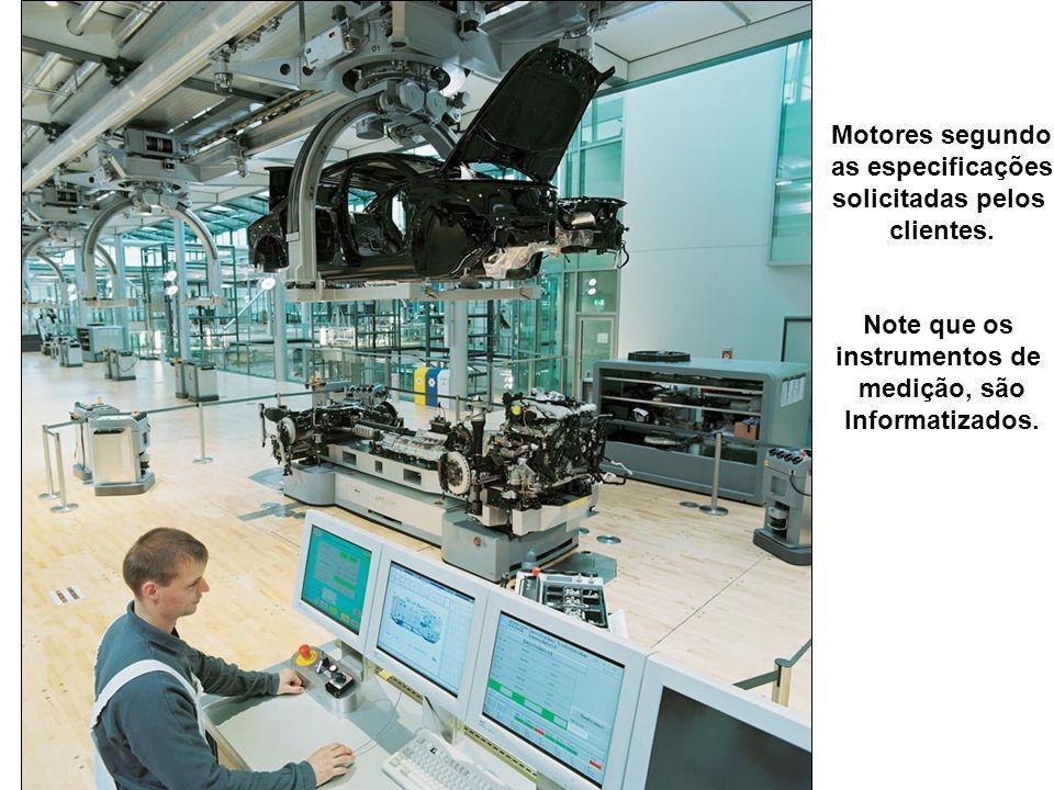 Motores segundo as especificações. solicitadas pelos. clientes. Note que os. instrumentos de. medição, são.