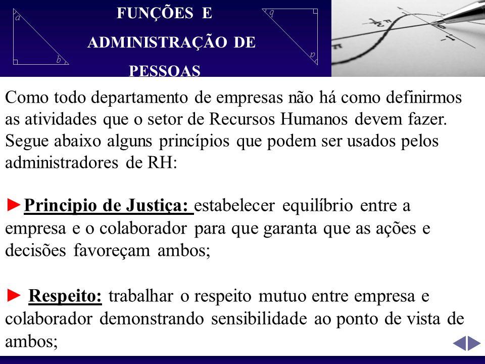 FUNÇÕES E ADMINISTRAÇÃO DE. PESSOAS.