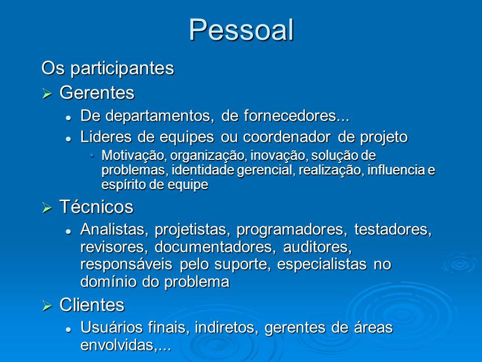 Pessoal Os participantes Gerentes Técnicos Clientes