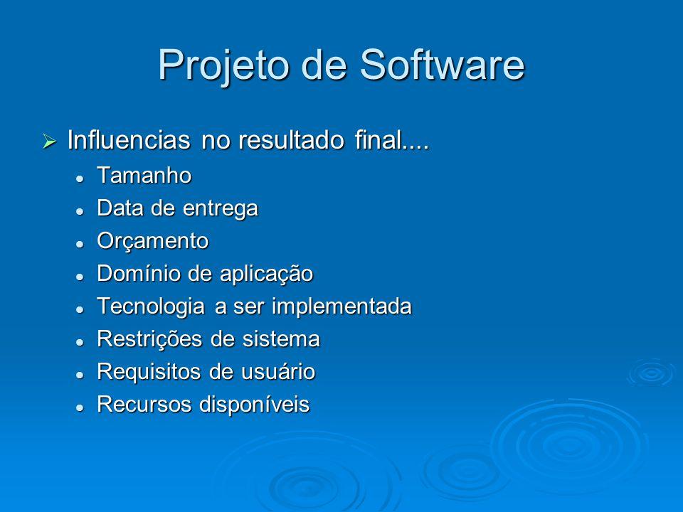 Projeto de Software Influencias no resultado final.... Tamanho