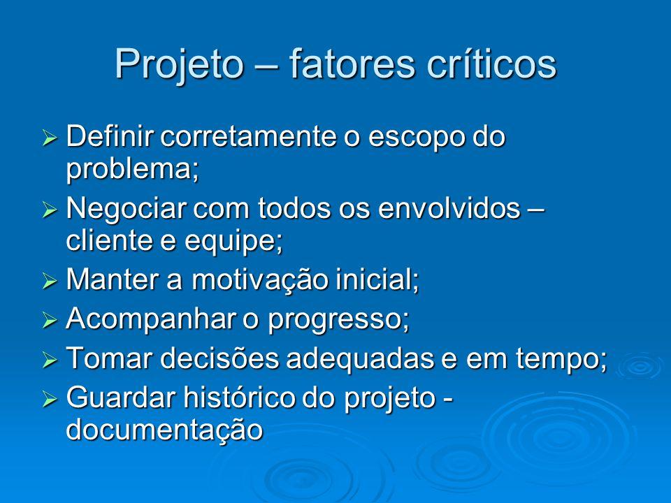 Projeto – fatores críticos