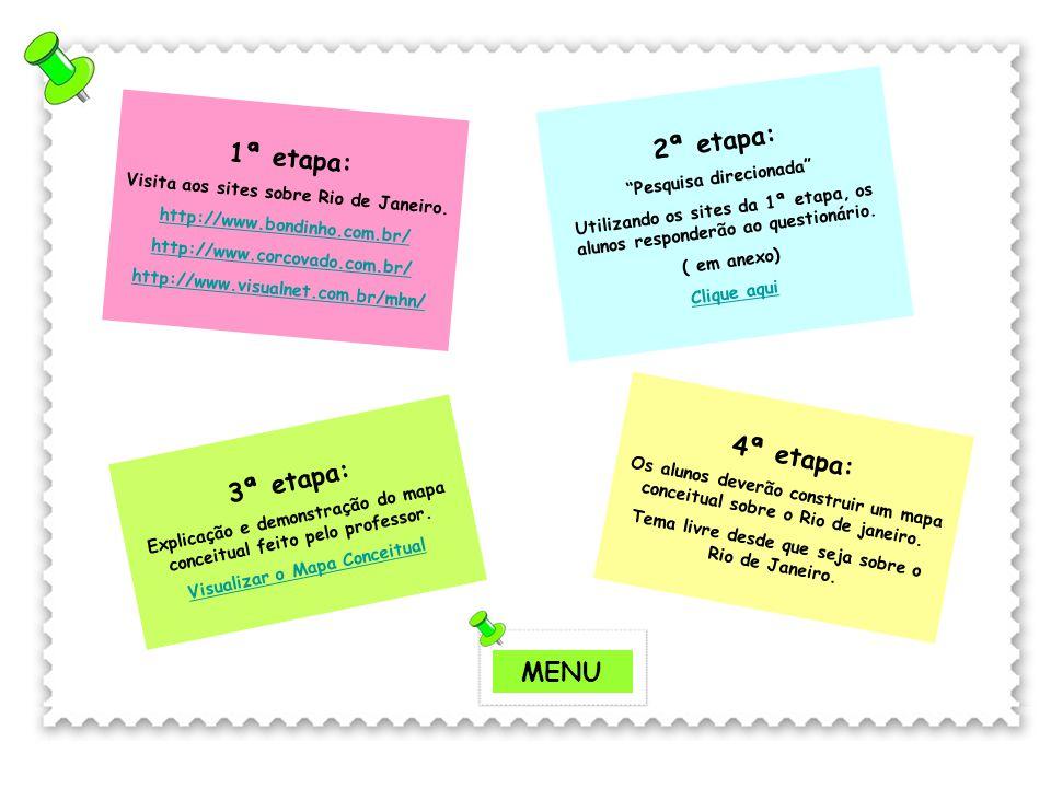 2ª etapa: 1ª etapa: 4ª etapa: 3ª etapa: MENU