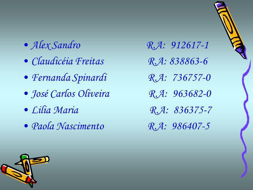 Alex Sandro R.A: 912617-1 Claudicéia Freitas R.A: 838863-6.