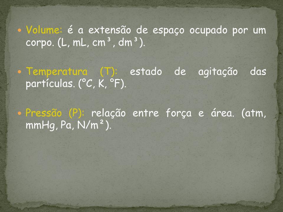 Volume: é a extensão de espaço ocupado por um corpo. (L, mL, cm³, dm³).