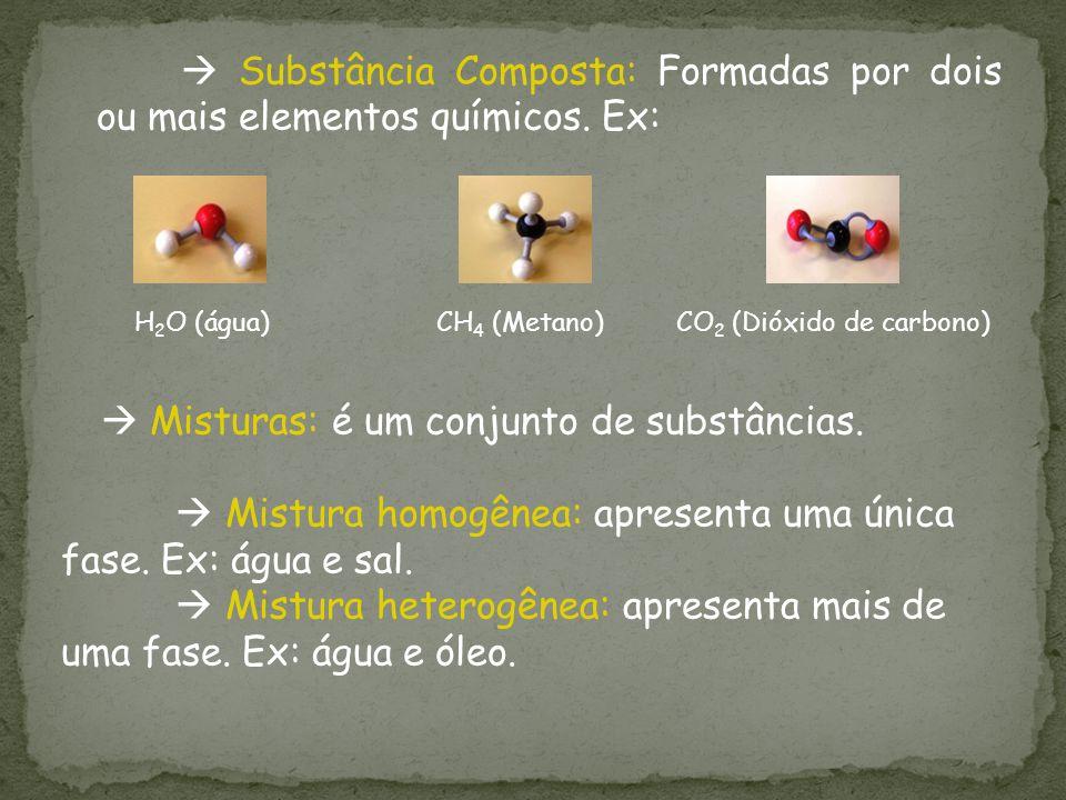 Mistura homogênea: apresenta uma única fase. Ex: água e sal.