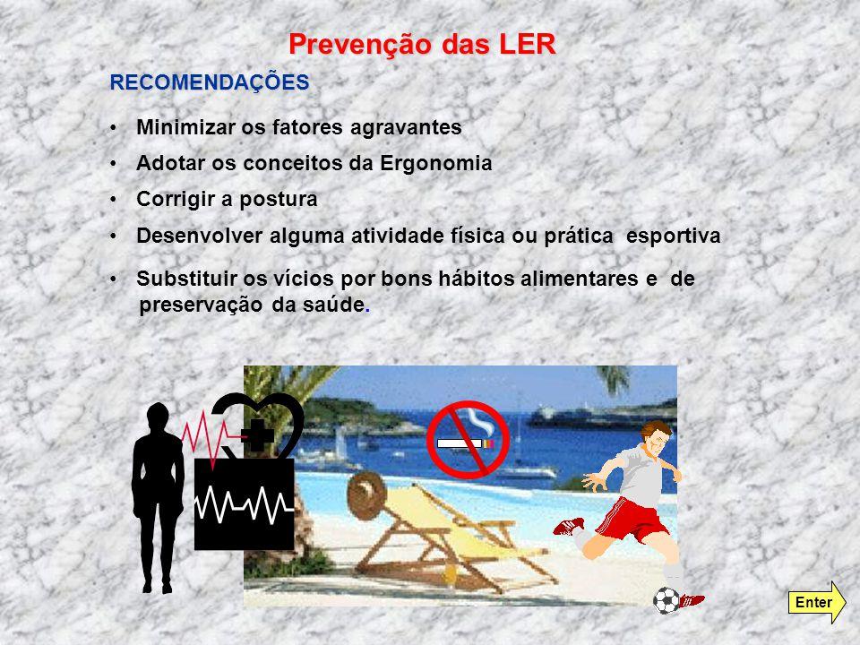 Prevenção das LER RECOMENDAÇÕES Minimizar os fatores agravantes