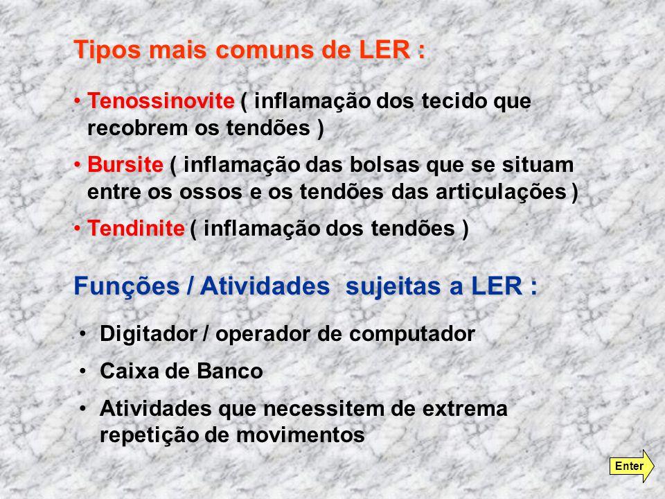 Tipos mais comuns de LER :