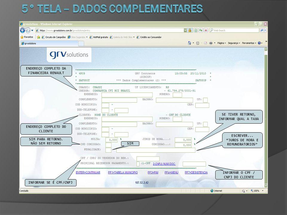 5° TELA – DADOS COMPLEMENTARES