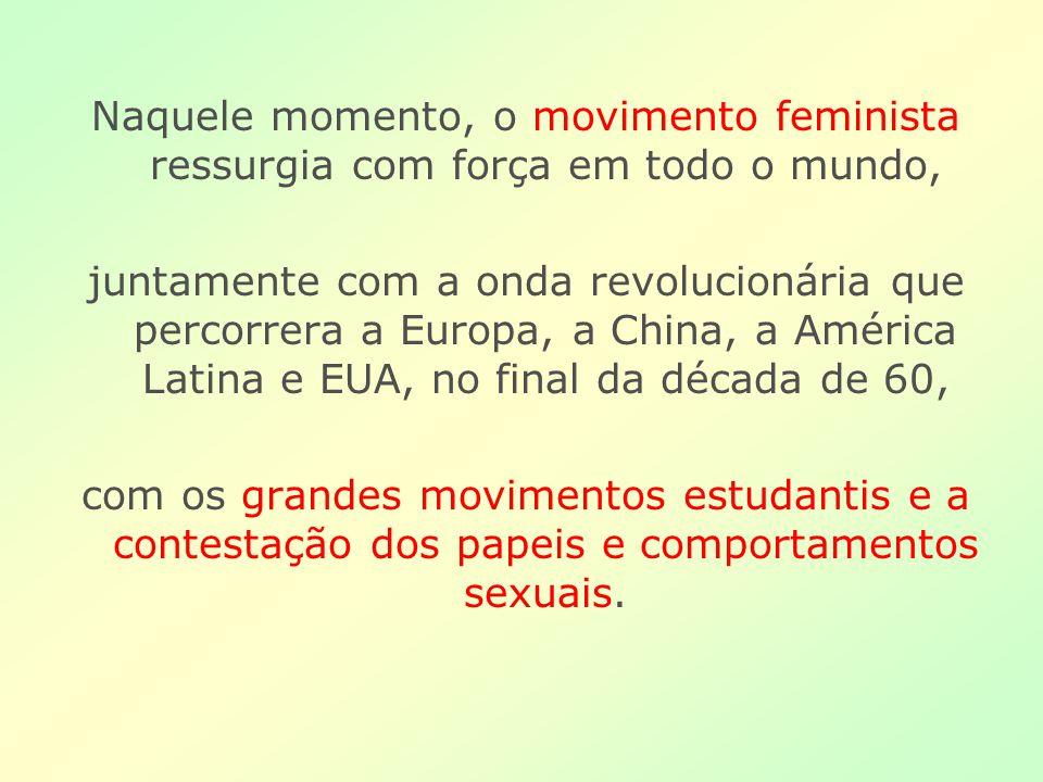 Naquele momento, o movimento feminista ressurgia com força em todo o mundo,