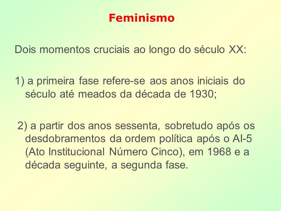 Feminismo Dois momentos cruciais ao longo do século XX: 1) a primeira fase refere-se aos anos iniciais do século até meados da década de 1930;
