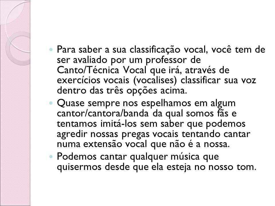 Para saber a sua classificação vocal, você tem de ser avaliado por um professor de Canto/Técnica Vocal que irá, através de exercícios vocais (vocalises) classificar sua voz dentro das três opções acima.