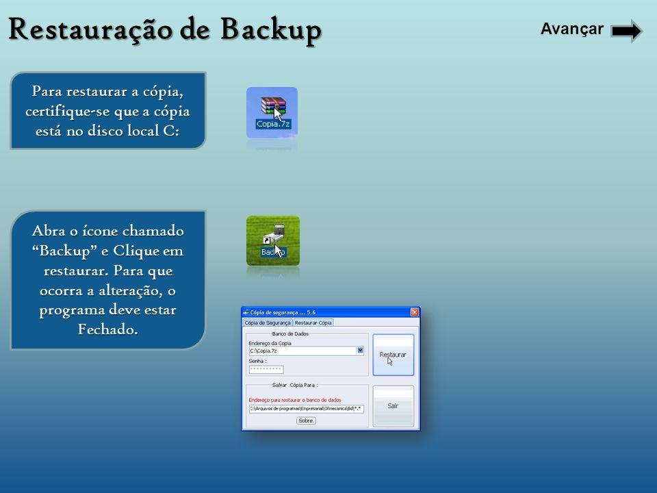 Restauração de Backup Avançar