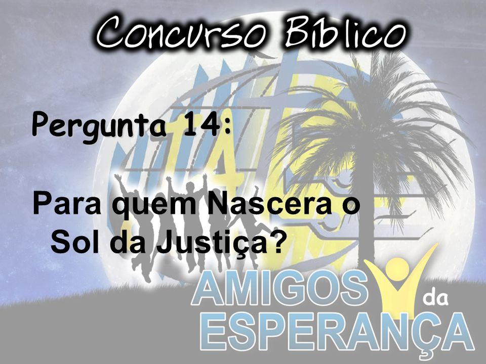 Pergunta 14: Para quem Nascera o Sol da Justiça