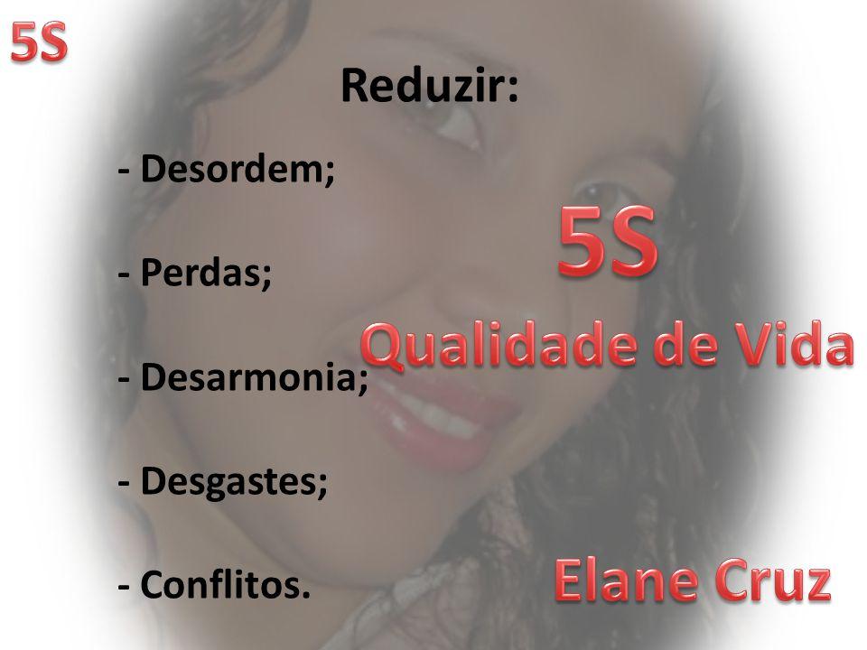 5S Qualidade de Vida Elane Cruz 5S Reduzir: - Desordem; - Perdas;