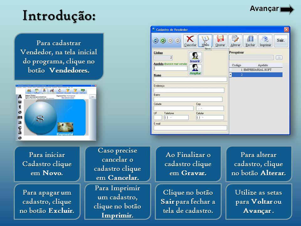 Avançar Introdução: Para cadastrar Vendedor, na tela inicial do programa, clique no botão Vendedores.