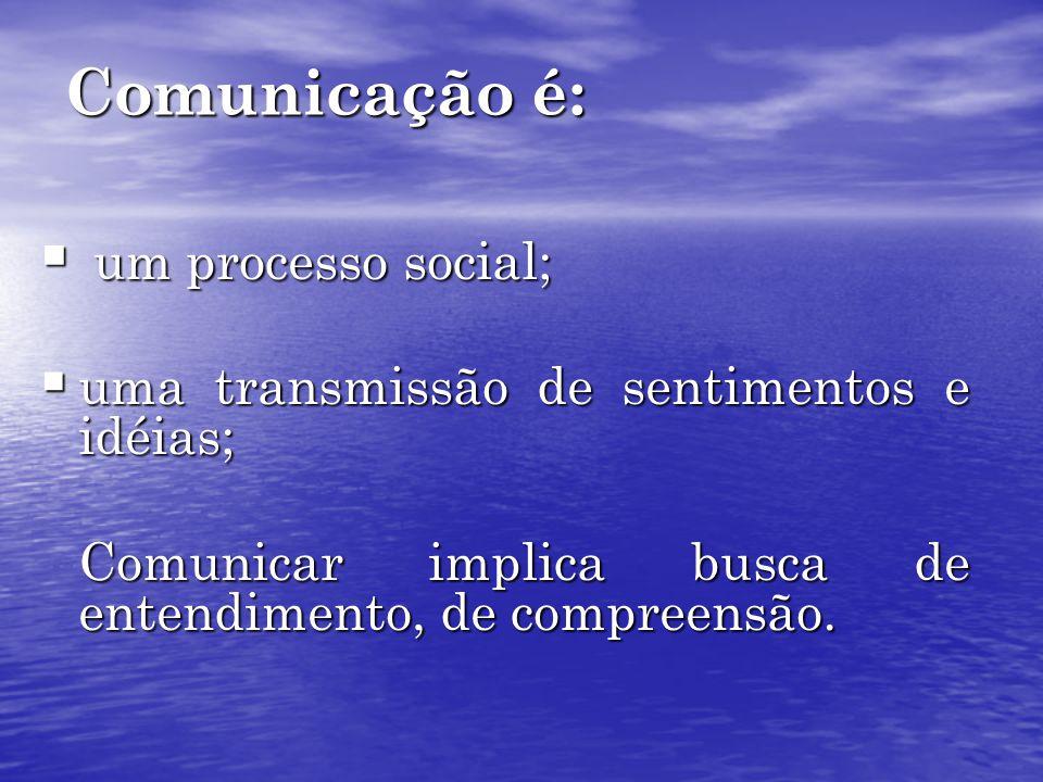 Comunicação é: um processo social;