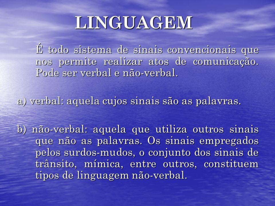 LINGUAGEM É todo sistema de sinais convencionais que nos permite realizar atos de comunicação. Pode ser verbal e não-verbal.