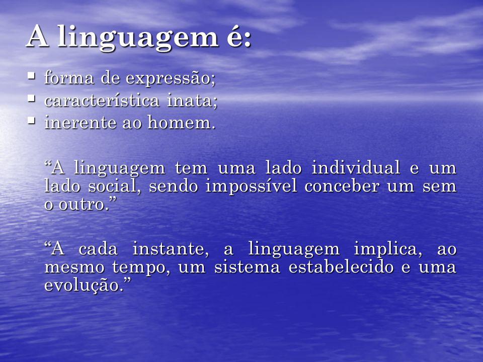 A linguagem é: forma de expressão; característica inata;