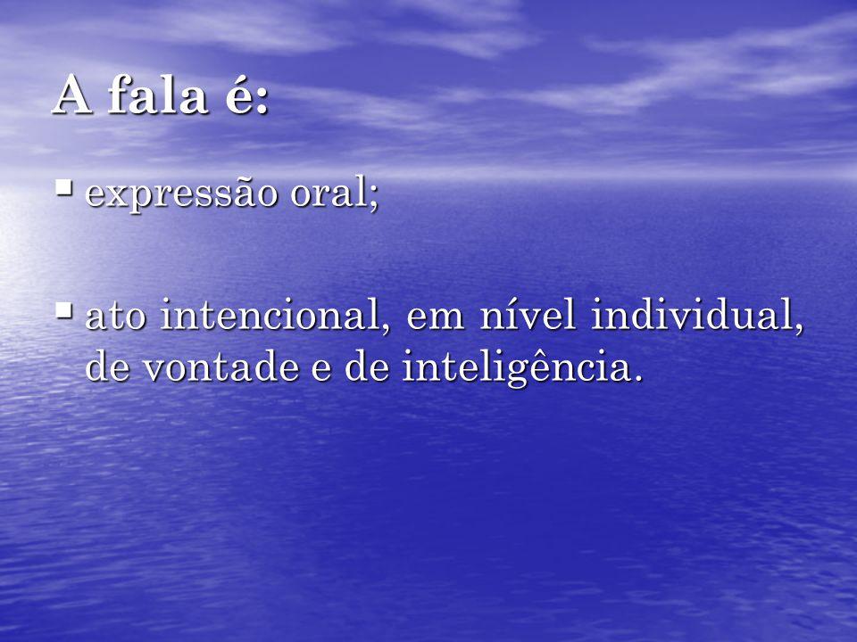A fala é: expressão oral;