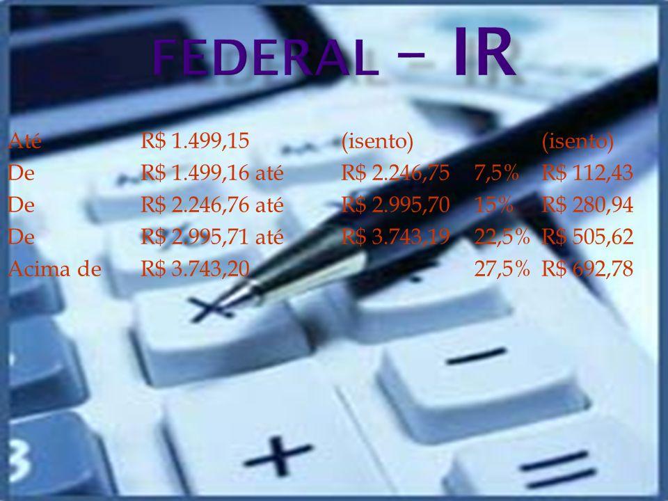FEDERAL – IR Até R$ 1.499,15 (isento) (isento)