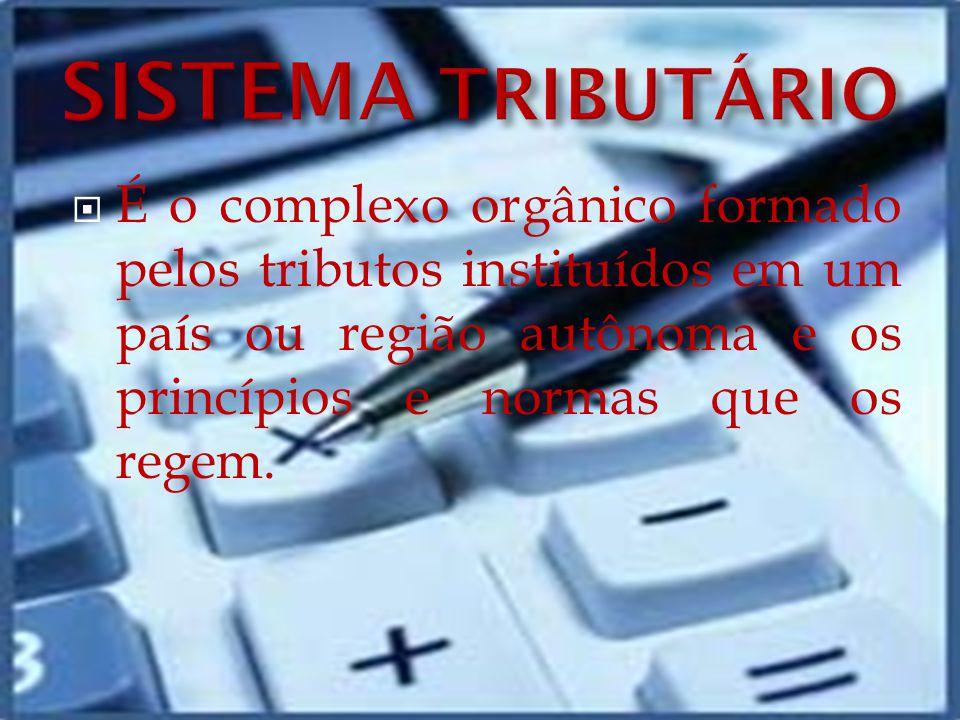 SISTEMA TRIBUTÁRIO É o complexo orgânico formado pelos tributos instituídos em um país ou região autônoma e os princípios e normas que os regem.