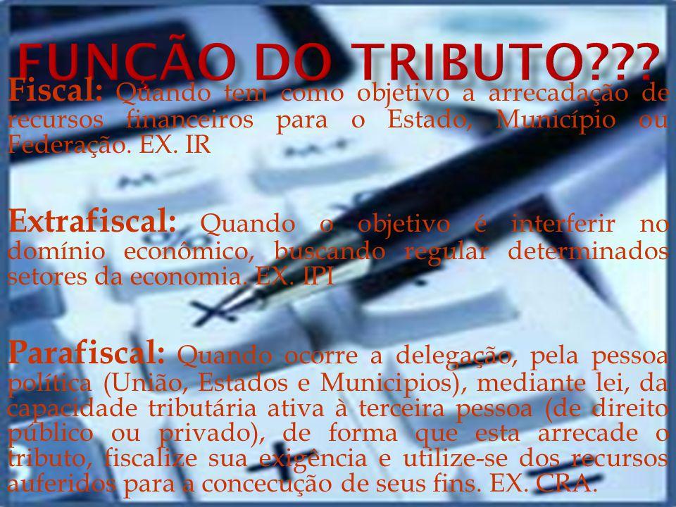 FUNÇÃO DO TRIBUTO Fiscal: Quando tem como objetivo a arrecadação de recursos financeiros para o Estado, Município ou Federação. EX. IR.