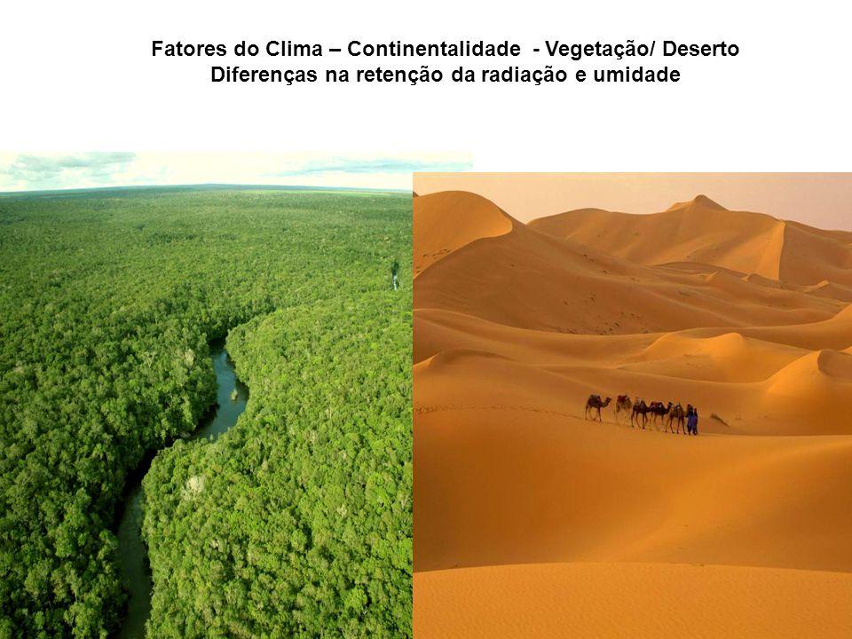Fatores do Clima – Continentalidade - Vegetação/ Deserto
