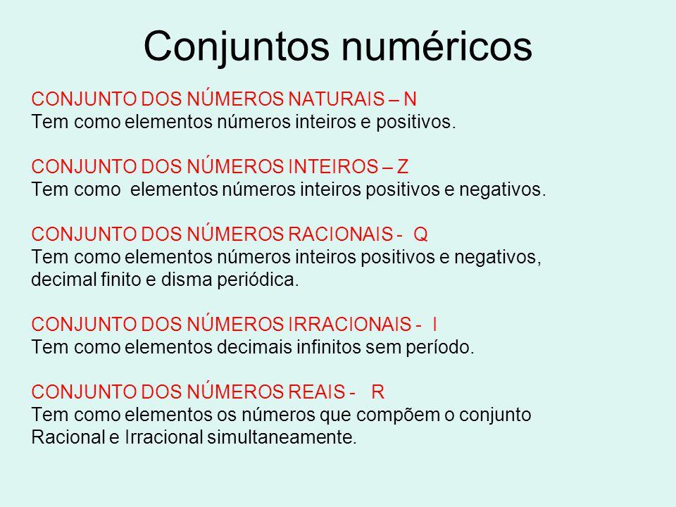 Conjuntos numéricos CONJUNTO DOS NÚMEROS NATURAIS – N