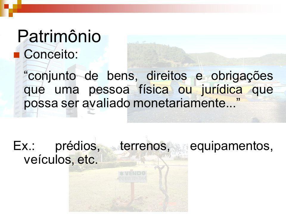 Patrimônio Conceito: conjunto de bens, direitos e obrigações que uma pessoa física ou jurídica que possa ser avaliado monetariamente...