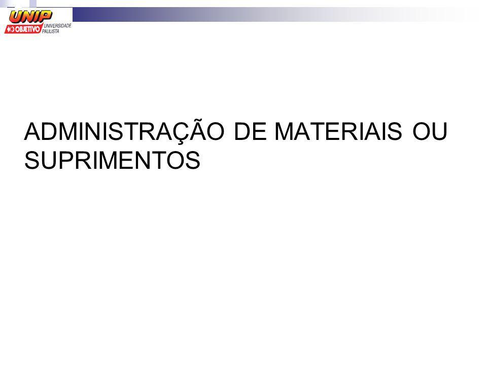 ADMINISTRAÇÃO DE MATERIAIS OU SUPRIMENTOS