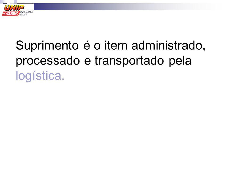 Suprimento é o item administrado, processado e transportado pela logística.