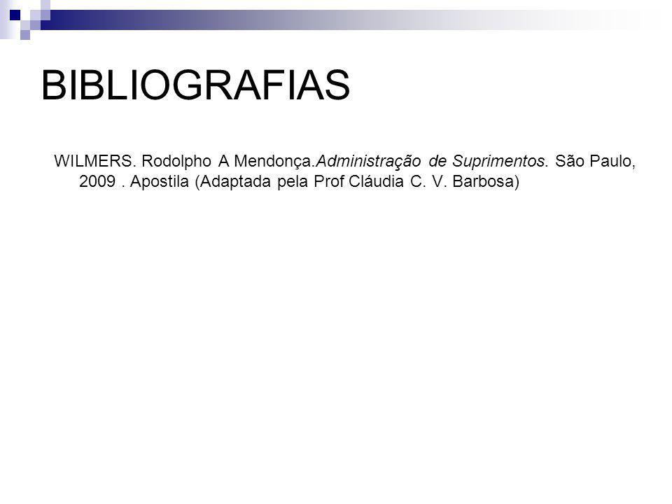 BIBLIOGRAFIAS WILMERS. Rodolpho A Mendonça.Administração de Suprimentos.