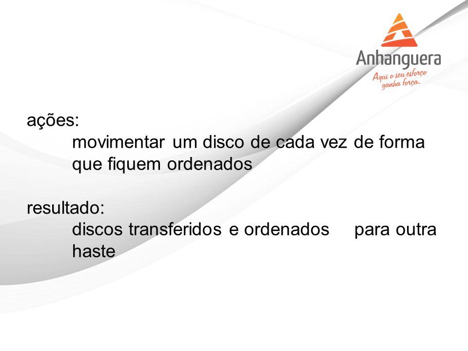 ações: movimentar um disco de cada vez de forma