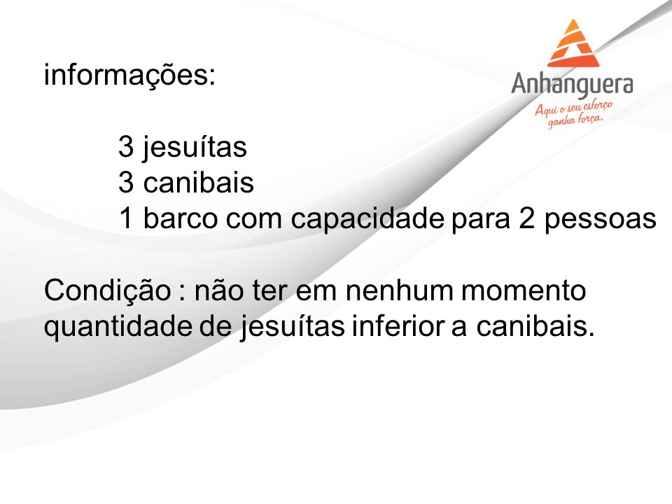 informações: 3 jesuítas 3 canibais 1 barco com capacidade para 2 pessoas.