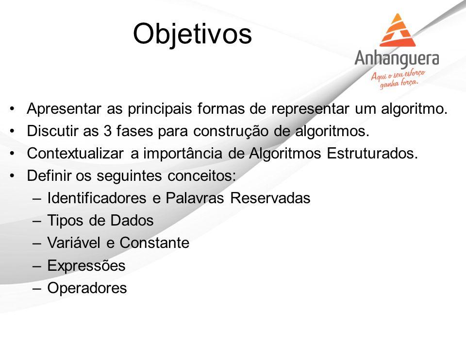 Objetivos Apresentar as principais formas de representar um algoritmo.