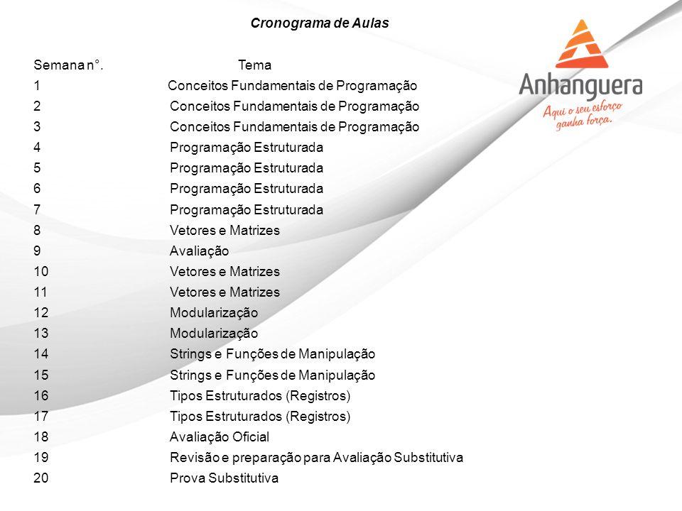 Cronograma de Aulas Semana n°. Tema. 1 Conceitos Fundamentais de Programação. 2 Conceitos Fundamentais de Programação.