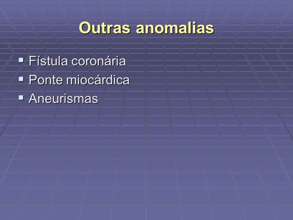 Outras anomalias Fístula coronária Ponte miocárdica Aneurismas