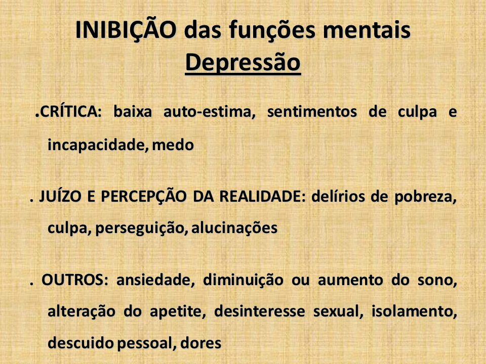 INIBIÇÃO das funções mentais Depressão