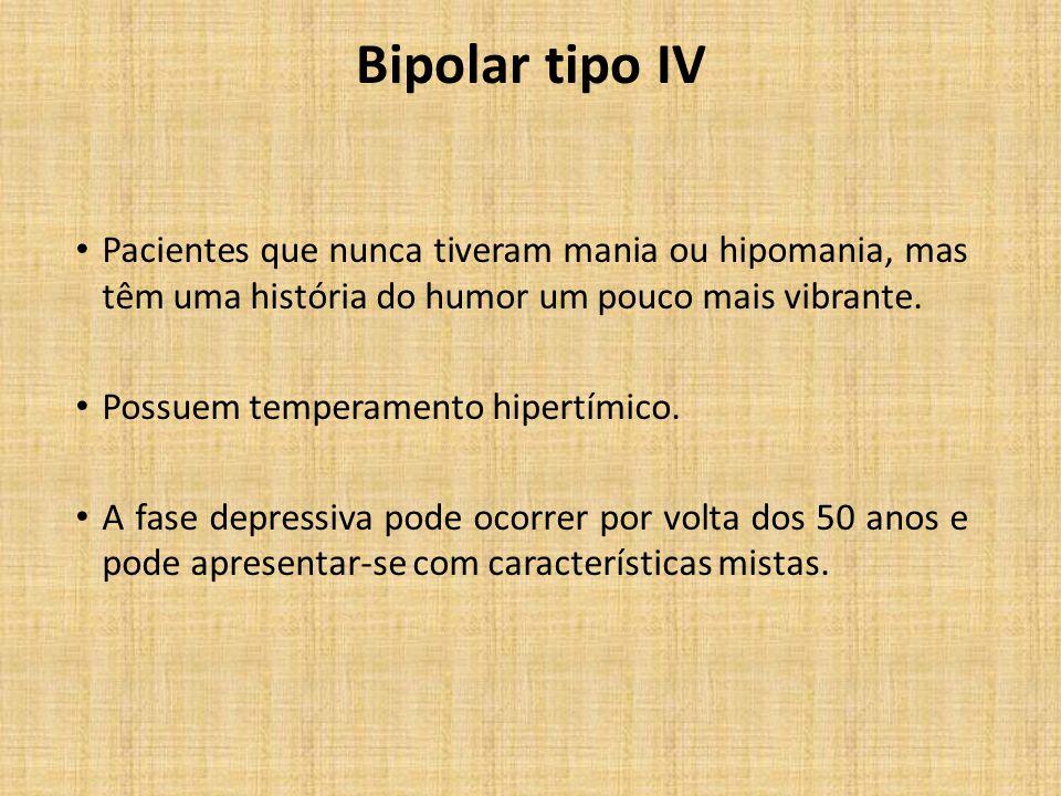 Bipolar tipo IV Pacientes que nunca tiveram mania ou hipomania, mas têm uma história do humor um pouco mais vibrante.