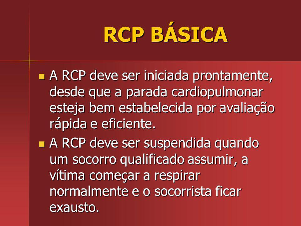 RCP BÁSICA A RCP deve ser iniciada prontamente, desde que a parada cardiopulmonar esteja bem estabelecida por avaliação rápida e eficiente.