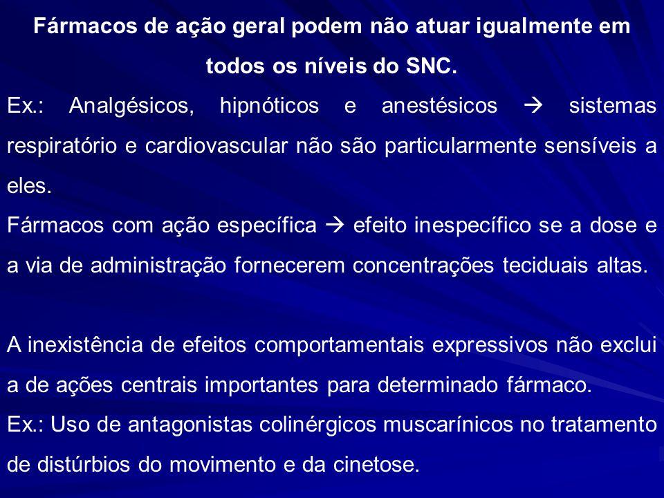 Fármacos de ação geral podem não atuar igualmente em todos os níveis do SNC.