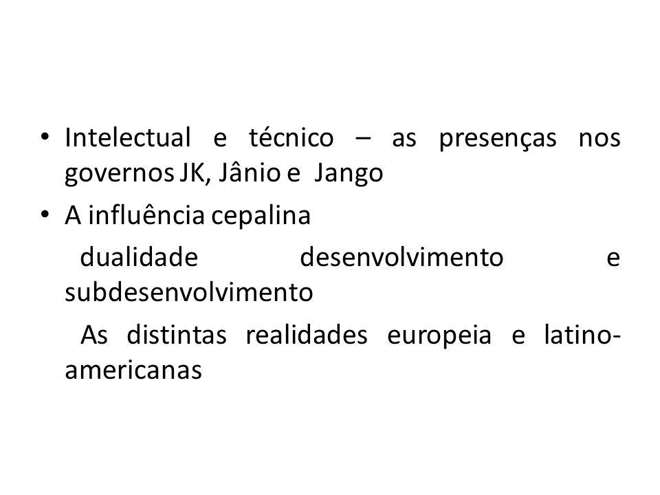 Intelectual e técnico – as presenças nos governos JK, Jânio e Jango