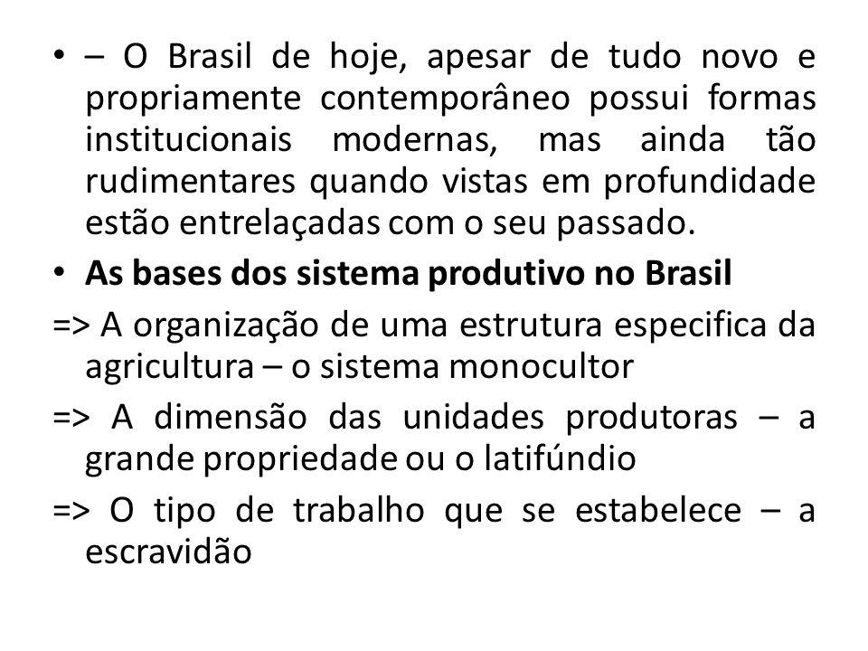 – O Brasil de hoje, apesar de tudo novo e propriamente contemporâneo possui formas institucionais modernas, mas ainda tão rudimentares quando vistas em profundidade estão entrelaçadas com o seu passado.
