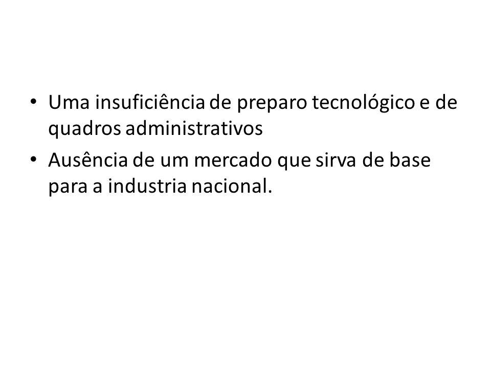 Uma insuficiência de preparo tecnológico e de quadros administrativos