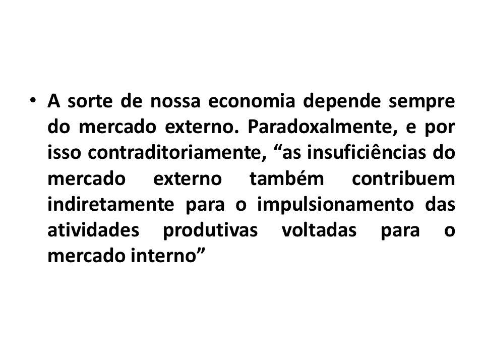 A sorte de nossa economia depende sempre do mercado externo