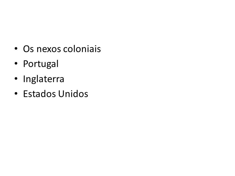 Os nexos coloniais Portugal Inglaterra Estados Unidos