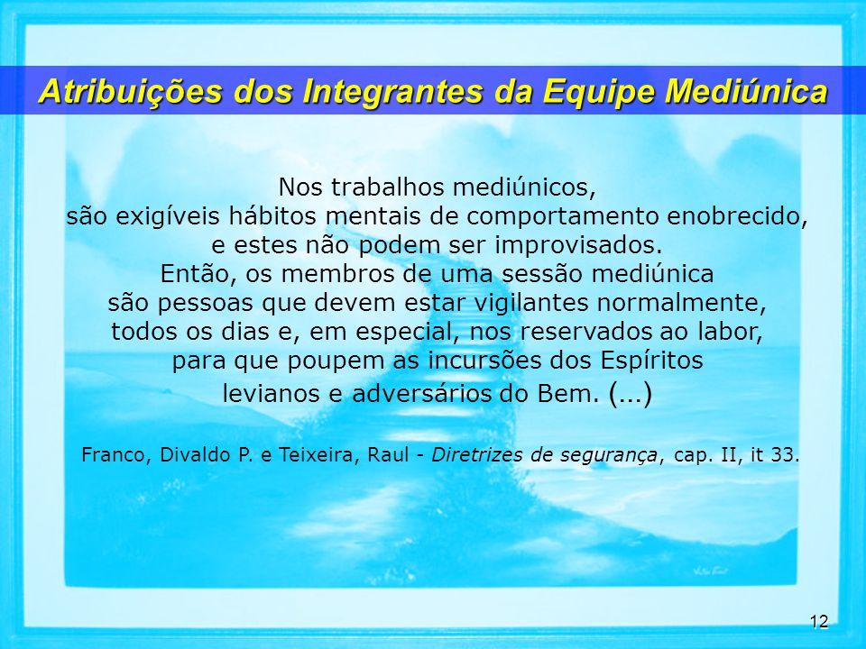 Atribuições dos Integrantes da Equipe Mediúnica