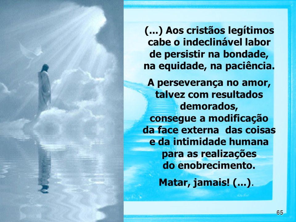 (...) Aos cristãos legítimos cabe o indeclinável labor de persistir na bondade, na equidade, na paciência.
