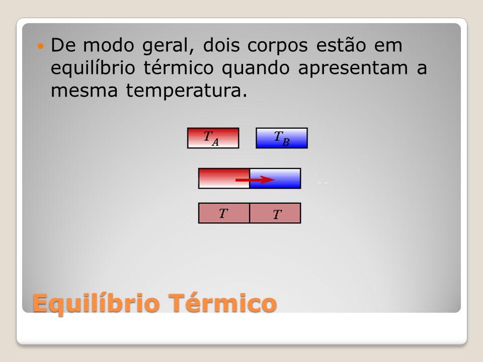 De modo geral, dois corpos estão em equilíbrio térmico quando apresentam a mesma temperatura.