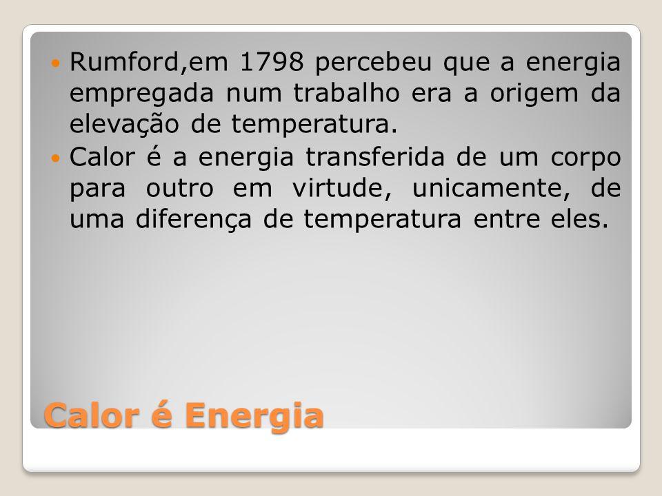Rumford,em 1798 percebeu que a energia empregada num trabalho era a origem da elevação de temperatura.